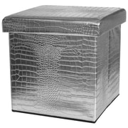 Oriental Furniture Storage Ottoman; Silver