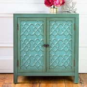 River of Goods Antiqued Quatrefoil 2 Door Cabinet