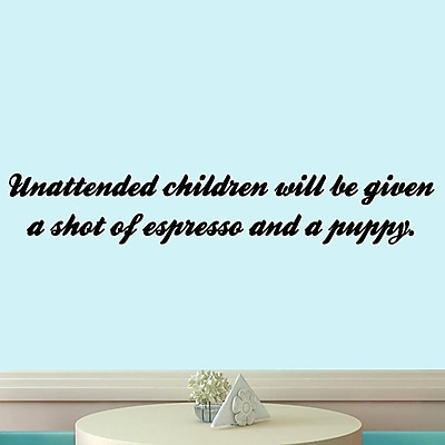 SweetumsWallDecals Unattended Children Wall Decal; Black