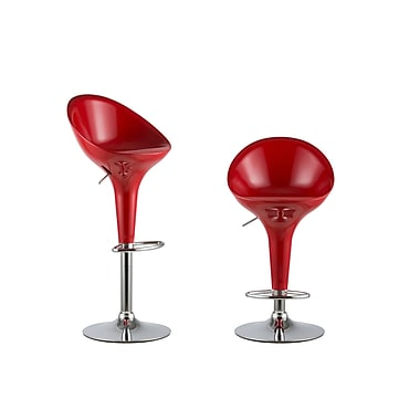 AttractionDesignHome 2 Piece Adjustable Height Swivel Bar Stool Set (Set of 2); Red