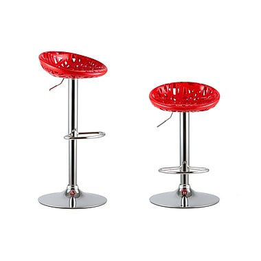 AttractionDesignHome Adjustable Height Swivel Bar Stools (Set of 2); Red