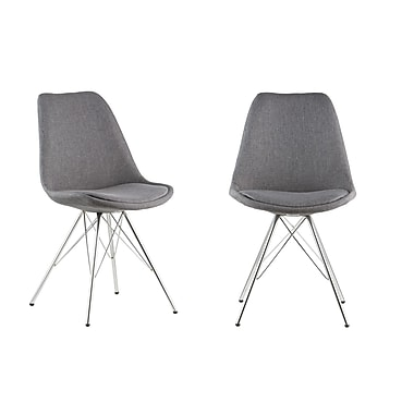 AttractionDesignHome Side Chair (Set of 2); Gray