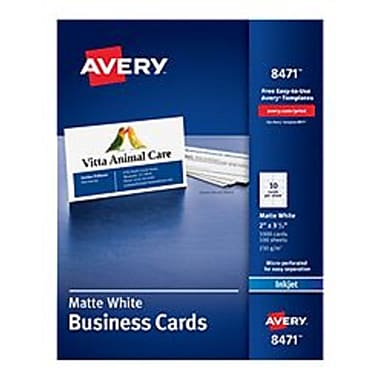 Avery inkjet business cards white 2 x 3 12 1000cards avery inkjet business cards white 2 reheart Choice Image