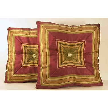RLF Home Nigel Stripe Mitred Throw Pillow (Set of 2); Ruby