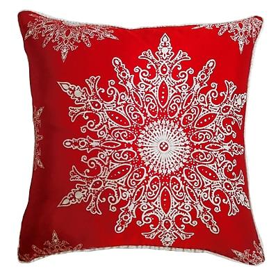 Filos Design Holiday Elegance Snowflake II Silk Throw Pillow; Red