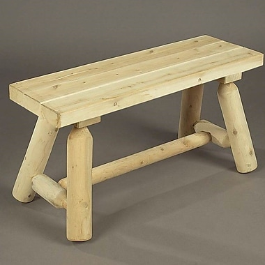 Rustic Cedar Straight Wood Garden Bench; Natural
