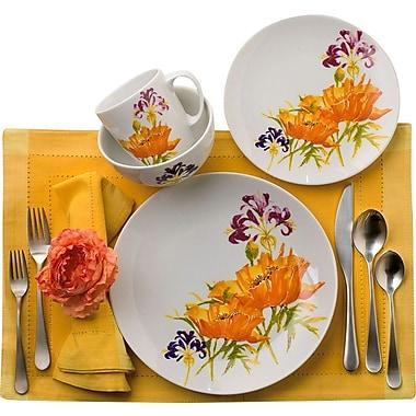 Euro Ceramica Tiger Lilly 16 Piece Dinnerware Set, Service for 4
