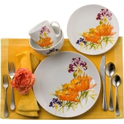 Euro Ceramica Tiger Lilly 16 Piece Dinnerware Set, Service for 4