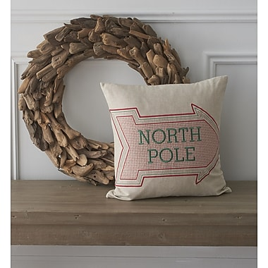 County Road Holiday Whimsical North Pole Cotton Throw Pillow