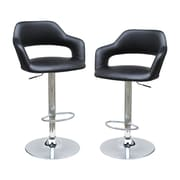 BestMasterFurniture Adjustable Height Swivel Bar Stool (Set of 2); Black