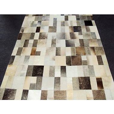 Modern Rugs Patchwork Disruption II Neutral Area Rug; Square 4'