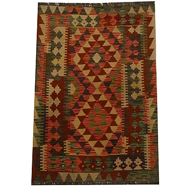 Herat Oriental Kilim Hand-Woven Red/Green Area Rug