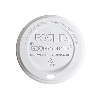 Eco-Products 8 Oz. EcoLid® Renewable and Compostable Hot Cup Lids, White, 800/Pack (EP-ECOLID)