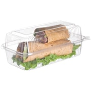 "Eco-Products 9.5"" PLA Hoagie Clamshells, 9"" L x 5"" W x 3 1/2"" H, Clear, 240/Pack (EP-LC96)"