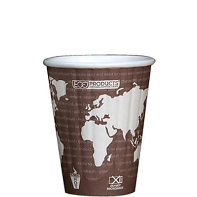 Eco-Products 8 Oz. World Art™ Insulated Hot Cups, Brown, 800/Pack (EP-BNHC8-WD)