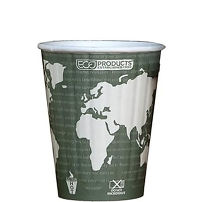Eco-Products 12 Oz. World Art™ Insulated Hot Cups, Green, 600/Pack (EP-BNHC12-WD)