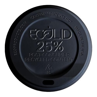 Eco-Products 10-20 Oz. Black EcoLid 25 Percent Recycled Content Hot Cup Lids, Black, 1000/Pack (EP-HL16-BR) 2475773