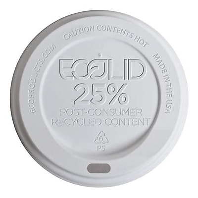Eco-Products 8 Oz. EcoLid WhitePost-Consumer Recycled Content Hot Cup Lids, White, 1000/Pack (EP-HL8-WR) 2475749