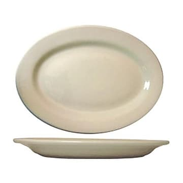 """International Tableware 12 1/2"""" x 9"""" Roma™ American White Platter With Rolled Edging, 12/Pack (RO-14)"""