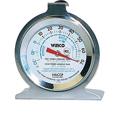 Winco 70 F Refrigerator/Freezer Thermometer, Silver, 3.8