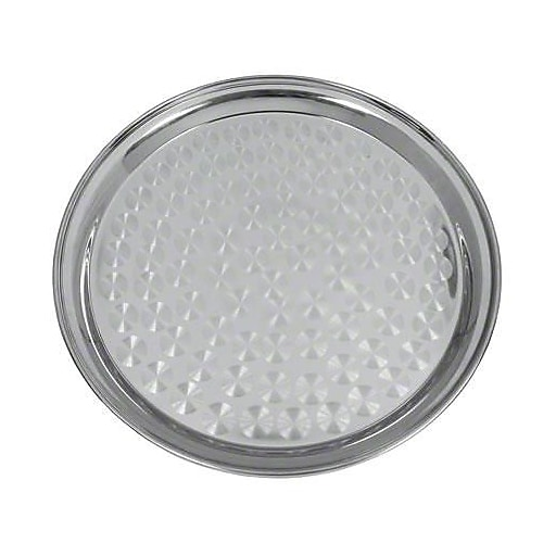 "Update International 12"" Round stainless serving Tray, 12"" L X 12"" W X 0.75"" H, Silver, 1/Pack (SST-12R)"
