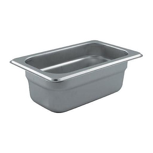 "Update International Ninth Size 2 1/2"" (Depth) Steam Table Pan, 6 3/4"" L x 4 1/4"" W, Silver, 72/Pack (NJP-112)"