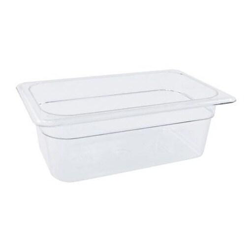 "Cambro 1/4 Size 4"" Deep Camwear® Food Pan, 3 4/5"" H x 6 1/3"" W x 10 2/5"" D, Clear (44CW135)"