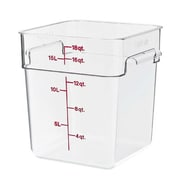 "Cambro 18 Qt. CamSquare® Food Storage Container, 11 1/4"" L x 12 1/4"" W x 12 5/8"" H, Clear, 6/Pack (18SFSCW135)"