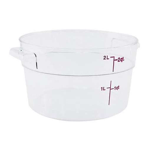 """Cambro 2 Qt. Camwear® Food Storage Container, 8 3/16""""  D X 4 3/16"""" H, Clear, 12/Pack (RFSCW2135)"""