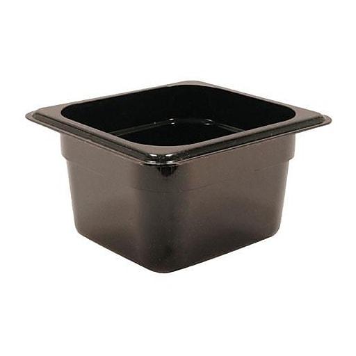 "Cambro 1/6 Size 4"" Deep Black Camwear® Food Pan, 6 15/16"" L x 6 3/8"" W, Black, 6/Pack (64CW110)"