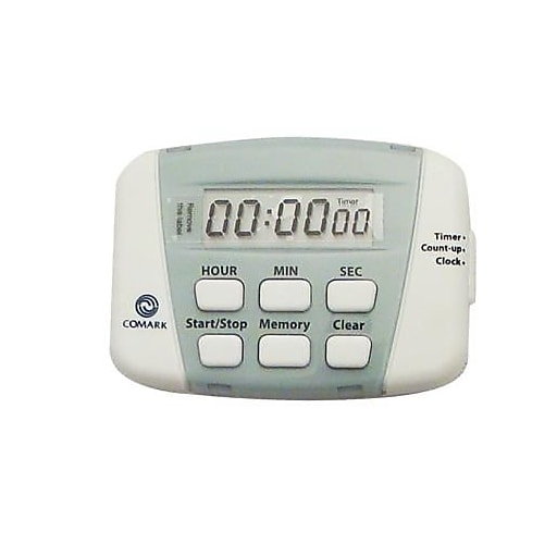 "Comark 24 hr Digital Timer, White, 6.9"" L x 4.6"" H x 0.6"" W"