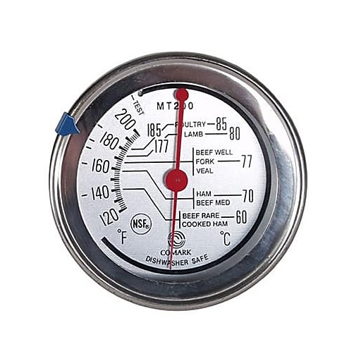"Comark 200 F Meat Thermometer, Silver, 7.7"" L x 3.4"" H x 0.1"" W"