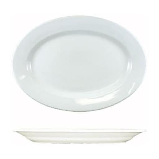 "International Tableware 9 3/8"" x 6 5/8"" Dover™ Porcelain Wide Rim Platter, 24/Pack (DO-81)"