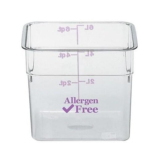 """Cambro 4 Qt. Purple Allergen Free CamSquare® Container, 7 1/4"""" L x 7 1/4"""" W x 3 7/8"""" H, Purple/Clear(4SFSCW441)"""