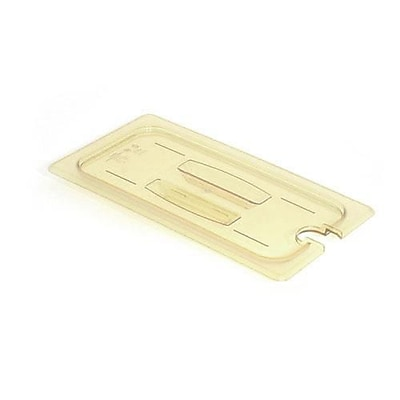 Cambro 1/6 Size Amber H-Pan™ Notched Cover With Handle, 6 15/16