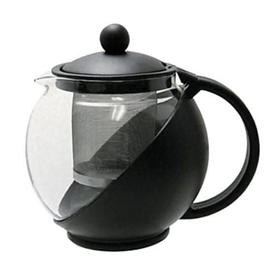 Update International 25 Oz. Teapot with Stainless Steel Infuser, Clear/Black, 5.5