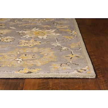 Loon Peak Glade Park-Gateway Hand-Tufted Gray/Yellow Area Rug; Round 5'6''