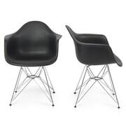 Belleze Arm Chair (Set of 2); Black