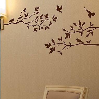 Innovative Stencils Tree Branches w/ Birds Wall Decal; Matte Brown