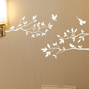 Innovative Stencils Tree Branches w/ Birds Wall Decal; Matte White