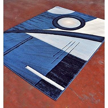 Rug Tycoon Light Blue/Black Area Rug; Runner 2' x 7'2''