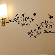 Innovative Stencils Tree Branches w/ Birds Wall Decal; Matte Black
