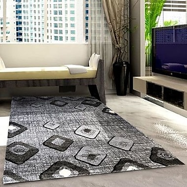 Rug Tycoon Grey/Black Area Rug; 7'11'' x 9'10''