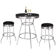 "Hathaway 30"" H Chrome and Black Remington 3-Piece Pub Table Set (BG2725BL)"