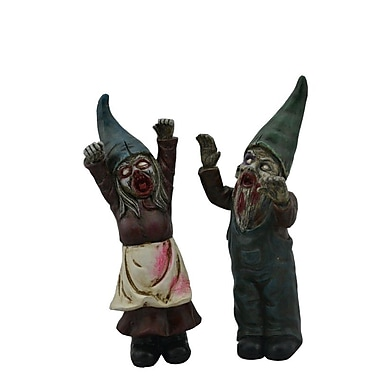 Hi-Line Gift Halloween Female & Male Zombie Gnomes, 11.5