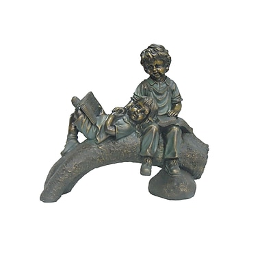 Hi-Line Gift Two Kids On Log Reading,Bronze Look