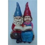 Hi-Line Gift – Couple de gnomes lisant un livre sur un banc, (exclusivité Hi-Line)