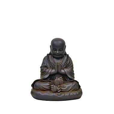 Hi-Line Gift – Bouddha priant, fibre d'argile, rouille noire