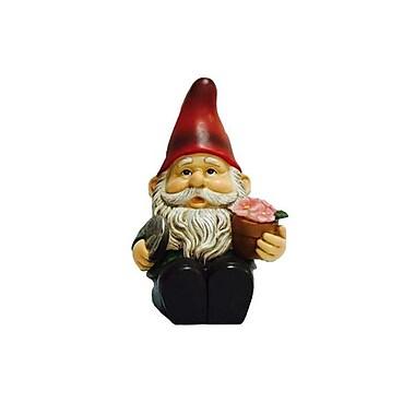 Hi-Line Gift – Gnome assis avec une pelle et une fleur lumineuse, lampe solaire DEL