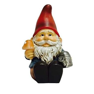 Hi-Line Gift – Gnome assis avec un arrosoir et un champignon lumineux, lampe solaire DEL